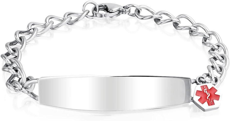 Beydodo Mens Womens Medical Bracelet Engraved Bracelet Men Stainless Steel Double Curb Chain Tag