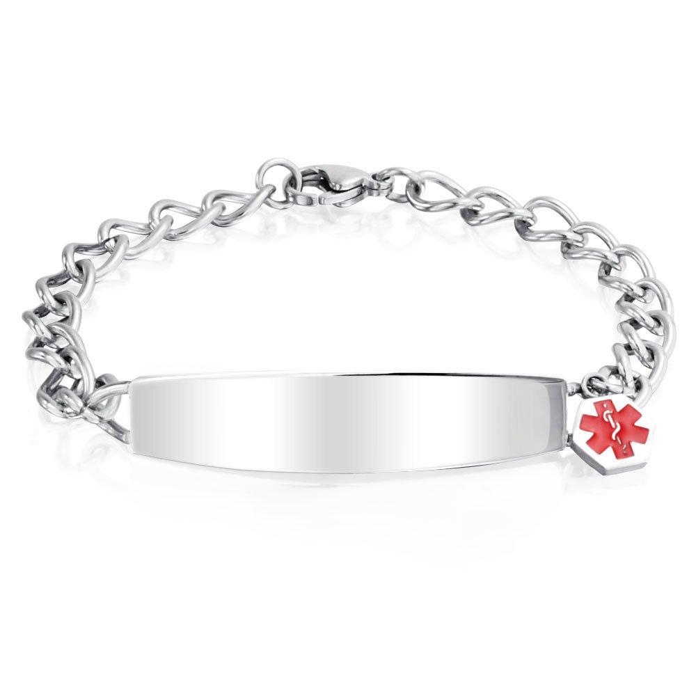 Bling Jewelry Womens Steel Medical Alert Red Enamel ID Bracelet 7.5in with Engraving