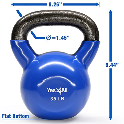Yes4All Vinyl Coated Kettlebell Weights Set – Great for Full Body Workout and Strength Training – Vinyl Kettlebell 35 lbs by Yes4All (Image #1)
