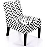 JAXPETY Leisure Armless Accent Chair Wave Print Fabric Armless Living Room Bedroom Office Contemporary Sofa (Black&White)