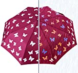 Travel Umbrella Windproof, HAOCOO Color Changing Auto Open UV Umbrella Folding Sun Rain Compact 8 Stick Umbrella Canopy for Women Man Outdoor (Wine Red)