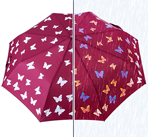 Travel Umbrella Windproof, HAOCOO Color Changing Auto Open UV Umbrella Folding Sun Rain Compact 8 Stick Umbrella Canopy for Women Man Outdoor (Wine Red) by HAOCOO