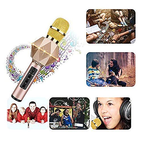 Wireless Karaoke Microphone Handheld Portable Bluetooth Karaoke Player Speaker With Flash LED Compatible with Android & iOS for Home KTV Bar Party Muisc Playing Singing& Recording Wireless Bluetooth by Xiuzhifuxie (Image #3)