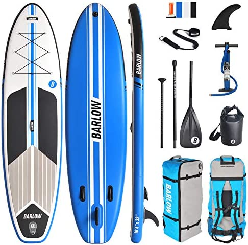 Inflatable Stand Up Paddle Board, Premium SUP Accessories Backpack 10 6 Long 32 Wide 6 Thick Durable Lightweight Includes Fiberglass Paddle, Waterproof Bag, Leash, Pump, Center Fin