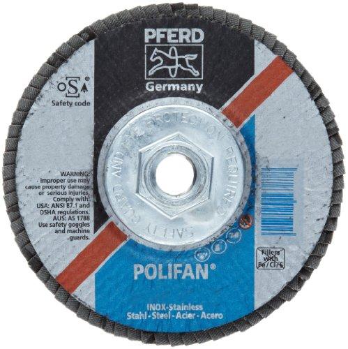 PFERD Polifan SG Abrasive Flap Disc, Type 29, Threaded Hole, Phenolic Resin Backing, Aluminum Oxide, 5 Dia., 80 Grit (Pack of 1)