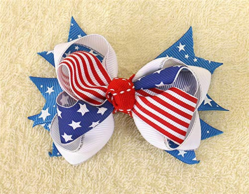 4 Inch Hair Accessories 4Th Of July Flag Hair Bows For Girls With Clips Red Royal White Hairbows Grosgrain Ribbon Stars Stripe 204-1