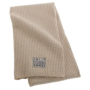 Aquis Microfiber Hair Towel, Waffle, Linen (19 x 39-Inches)
