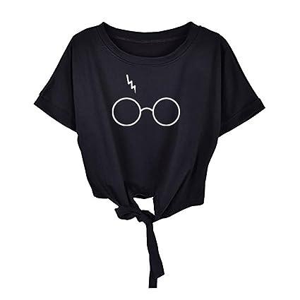 LILICAT® Gafas estampadas de manga corta para niñas adolescentes 2018 Blusas estampadas de moda casual