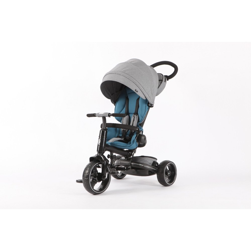 T600 BLUE 6-in-1 Deluxe Baby Stroller Tricycle Grow With Me Trike with One Button Rotating Seat Function for Interaction with Parents Push Bar Storage Bag Included (Trike,Stroller,Baby Tricycle)