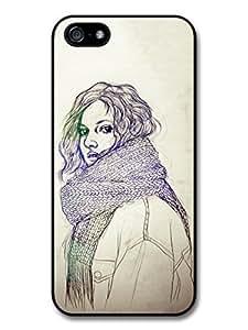 diy case Girl with a Scarf Original Art Illustration Sketch case for iPhone 6 4.7