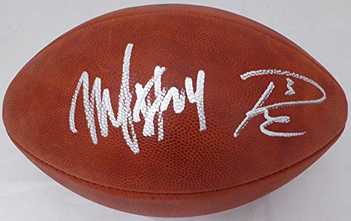 Lynch Marshawn Football Autographed - Russell Wilson & Marshawn Lynch Autographed NFL Leather Football Seattle Seahawks RW & ML Holo