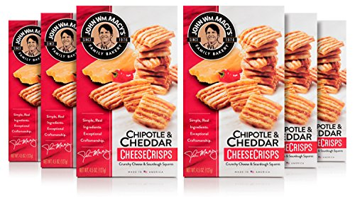 Asiago Cheese Straws - John Wm. Macy's CheeseCrisps, Natural Crunchy Cheese and Sourdough Squares in Chipotle & Cheddar, 4.5 Ounce Box, 6 Count