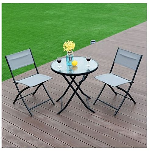 MD Group Patio Table and Chair Set 3-Peice Blue Foldable Iron Frame & Tempered Glass 3pcs by MD Group