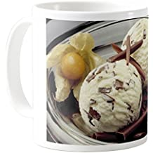 AquaSakura - Ice Cream Stracciatella with Physalis - 11oz Ceramic Coffee Mug Tea Cup