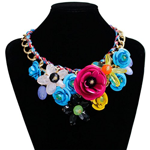 Napoo Women Style Chain Crystal Rhinestone Colorful Flower Luxury Rope Weave Necklace (Colorful)
