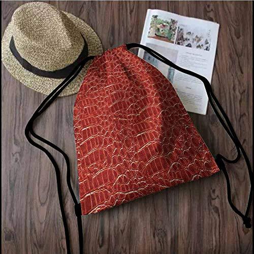 Animal Print Durable Drawstring Backpack Crocodile Skin Designer