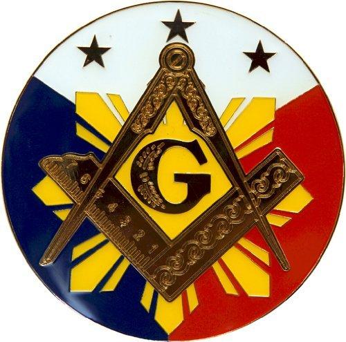 Square & Compass Sun Round Red White Blue Masonic Auto Emblem - 3
