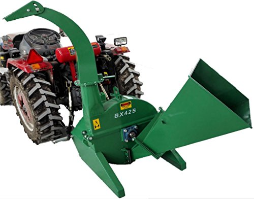 Pto Wood Chipper (Wood Chipper Tractor Attachment PTO Cutter Leaf Mulcher Shredder, Tractors 18 to 50HP, 4 x 10 Inch Chipper Capacity, 1 Year Parts Warranty, Model BX42S)