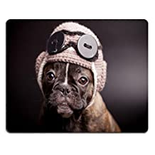 MSD Natural Rubber Gaming Mousepad French bulldog puppy in knit pilot helmet IMAGE 29870726