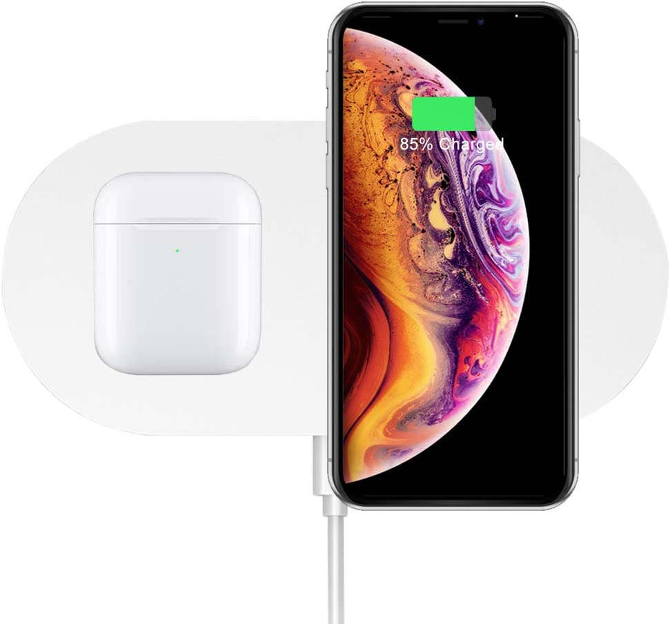 Dual Wireless Charger, COSOOS Double Fast Charging Pad 20W Max Compatible with iPhone 12/12 Pro/12 Pro Max/12 Mini/11/11 Pro Max/XS, Galaxy S20/Note 10, AirPods Pro, Galaxy Buds+(No AC Adapter)