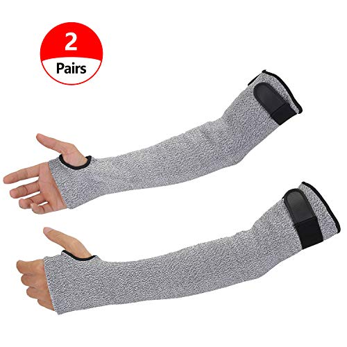Cut Resistant Arm Sleeves with Thumb Hole, Double Ply Protective Sleeves for Arms with Level 5 Protection, Mechanics Sleeves Soft Breathable Anti Abrasion with 18 inch Long Idea for Gardening Glass