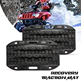LITEWAY Traction Boards - 2 Pcs Black Traction Mat for Sand Mud Snow Track Tire Ladder 4X4 - Recovery Traction Tracks, 1 Year Warranty