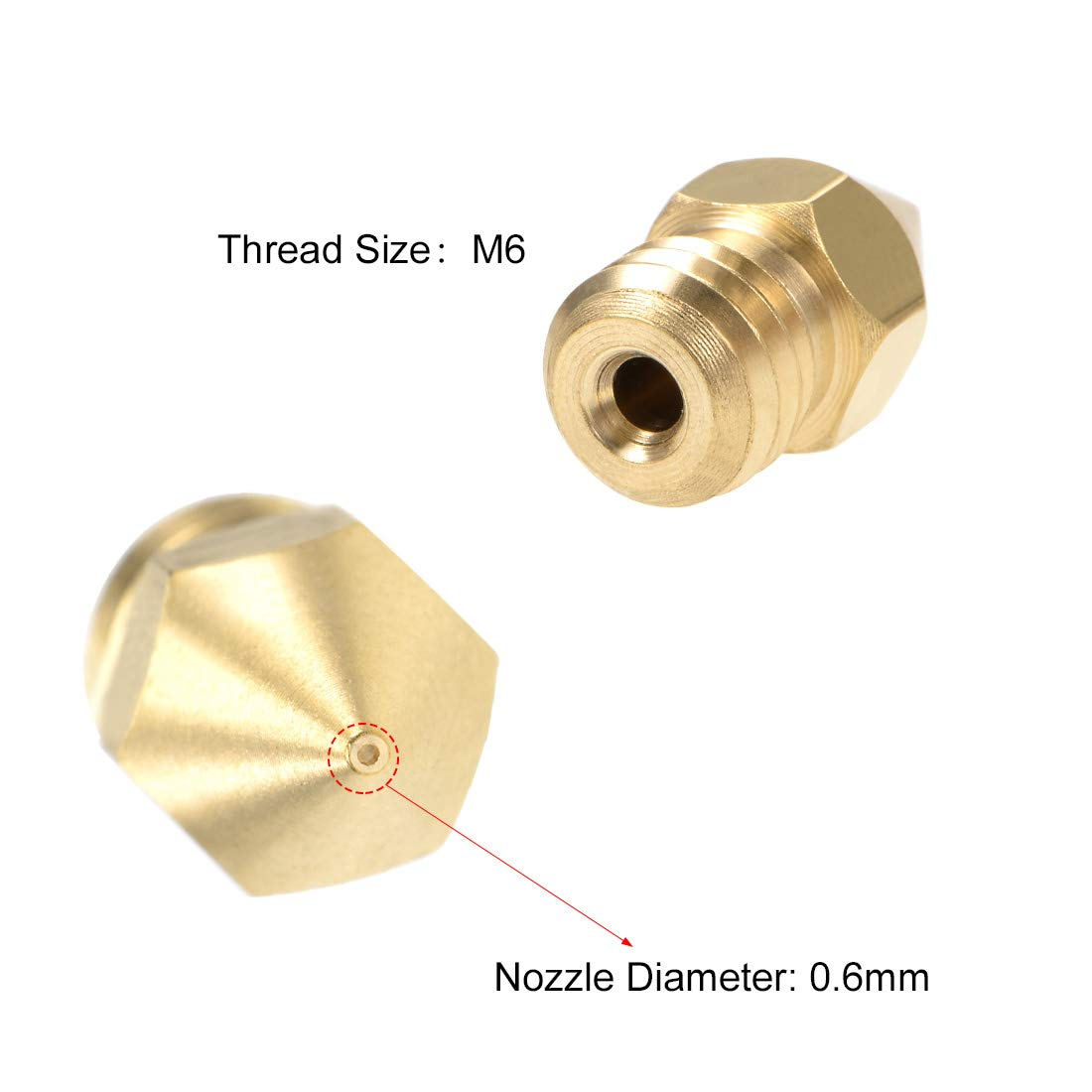 sourcing map 0.2mm 3D Printer Nozzle Head M6 Thread Replacement for MK8 1.75mm Extruder Print Brass 5pcs