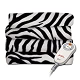 zebra heated blanket - Sunbeam Fleece Heated Throw, Zebra Black