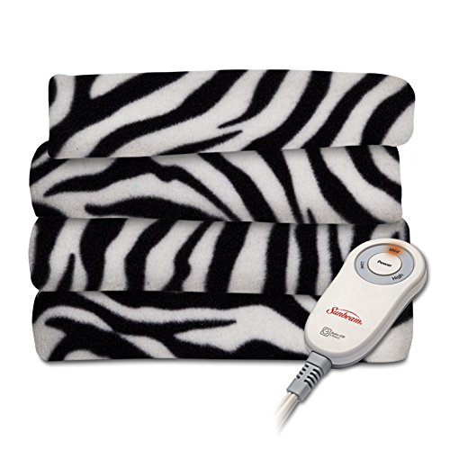 Sunbeam Fleece Heated Throw Blanket, Zebra Black (TSF8TP-R901-33A00) for sale  Delivered anywhere in USA