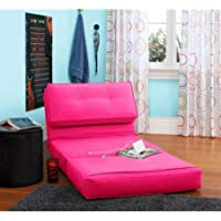 Your Zone Flip Chair | Chair Easily Converts Into a Bed | Ultra Suede Material (1, Racy Pink)