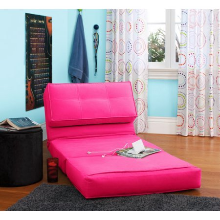 Your Zone Flip Chair | Chair Easily Converts Into a Bed | Ultra Suede Material (1, Racy Pink) by Your Zone