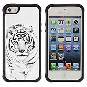 SHIMIN CAO@ Tiger Snow Leopard Winter Black White Fur Animal Rugged Hybrid Armor Slim Protection Case Cover Shell For iphone 5S CASE Cover ,iphone 5 5S case,iphone5S plus cover ,Cases for iphone 5 5S