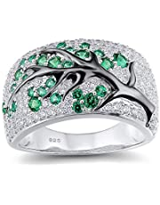 RuleaxAsi Stylish Tree Pattern Ring Exquisite Curved Band Delicate Wedding Bands for Women Birthday Gift