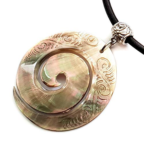 - Swimmi Hand Carved Maori Mother of Pearl Shell Koru Peace Pendant 16 to 27 inches Adjustable Cord Necklace Handmade Jewelry CA239-N