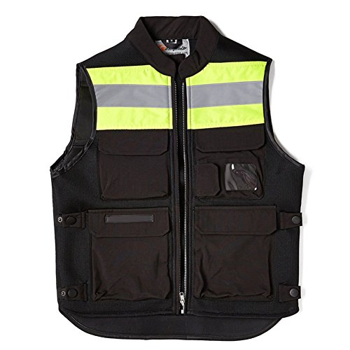 A.B Crew Reflective Motorcycle Biker Vest with Pockets High Visibility Base Safety Vest for Cycling Sport Street Racing, Green XL by A.B Crew (Image #5)