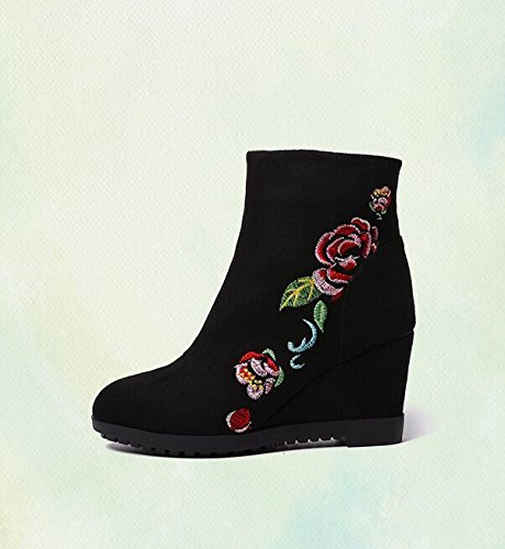 KPHY-Slope Heel 7Cm Heel Single Boots Beijing Cloth Shoes Martin Boots Retro Ethnic Embroidery Black O6JX0