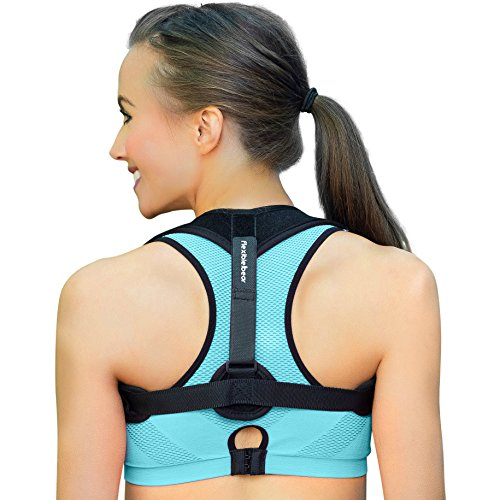 Flexible Bear Back Posture Corrector for Women, Men & Kids - Easy to Adjust & Invisible Clavicle Support Brace to Comfortably Prevent & Relieve Pain, Slouching & Injury + Resistance Band & Armpit Pads by Flexible Bear