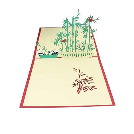 Amazon.com: Tarjeta de felicitación con diseño de panda en ...