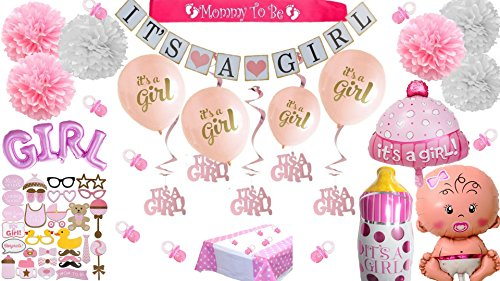 Baby Shower Decorations For Girl Pink It's a Girl Giant Balloons Photo booth Props Banner Pom Poms Mom Mommy to Be Sash White Gold Pacifiers Garland Tablecloth Ultimate Kit (Baby Bundle Pink)