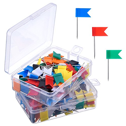 Outus 200 Pieces Map Flag Push Pins Tacks in 2 Box, Assorted 7 Colors