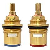 #7: Huashan Pair of Replacement Brass Ceramic Disc Tap valves Quarter Turn Gland Insert BSP 3/4 x 20 Spline x 57mm x 12mm Fits DAMIXA