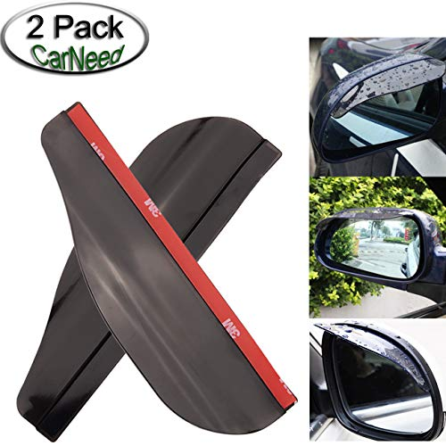 CarNeed 2 Pcs Smoked Black Mirror Rain Visor Smoke Guard, Rear View Side Mirror Rain Eyebrow, Carbon Fiber Rear View Mirror Visor Guard for Most Car, Truck and SUV ()
