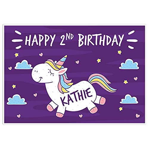 Unicorn On Purple Sky Birthday Banner Party Decoration Backdrop