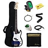 Stedman Beginner Series Bass Guitar Bundle with 15-Watt Amp, Gig Bag, Instrument Cable, Strap, Strings, Picks, and Polishing Cloth - Transparent Blue