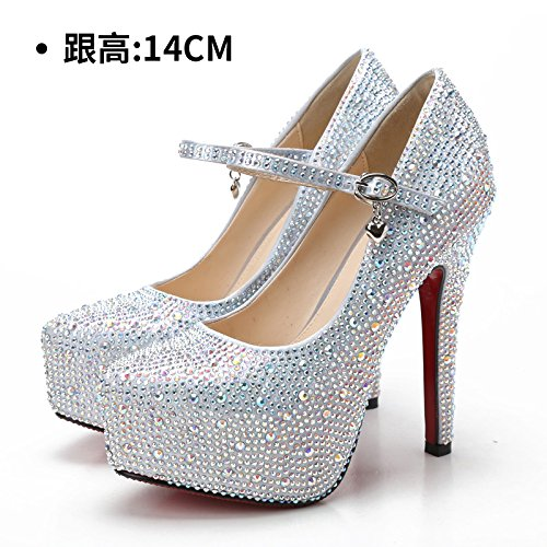 Silver Court female heeled red High shoes high Pumps bridal Sandals shoes diamond Shoes Wedding shoes shoes white shoes strap evening crystal Heels HUAIHAIZ 14CM qAwxBx