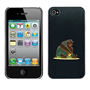 Carcasa Funda Prima Delgada SLIM Casa Case Bandera Cover Shell para Apple Iphone 4 / 4S / Business Style Bear Cartoon Honey Character Comic Big Art
