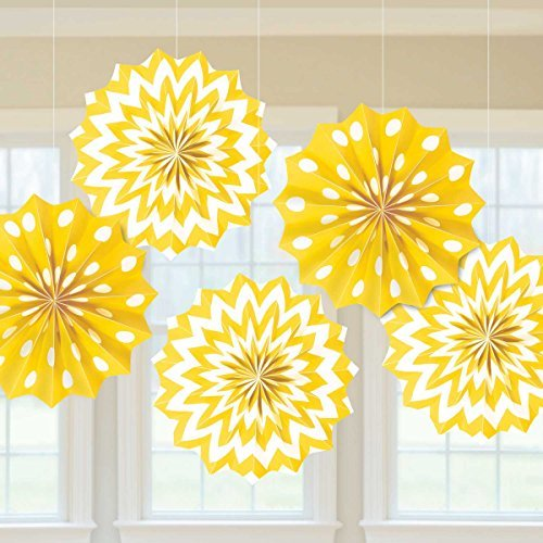 Amscan International Dots & Chevrons Hanging Paper Fan Decorations (5 Pack) Sunshine Yellow (Decorations Hanging Sun)