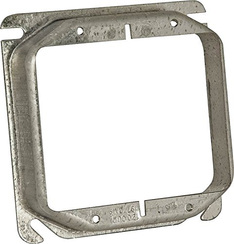 Hubbell 780 Raco Mud-Ring Raised Square Electrical Box Cover, 4 In L X 4 In W X 1 In T, Gray, Steel -