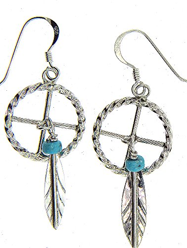 USA By Navajo Artist Gloria Etsitty:Sterling-silver Medicine Wheel Man Made synthetic Turquoise drop-earrings ()