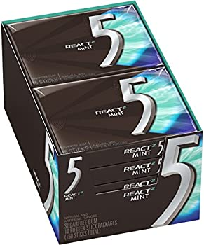 10-Pack 5 Gum React Mint Sugarfree Gum (150 Pieces Total)